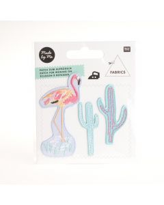 Rico Tropical Opstrijklabel 3 stuks flamingo/cactus