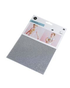 Strijkfolie glitter 15 x 18,5 cm zilver