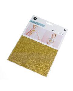 Strijkfolie glitter 15 x 18,5 cm goud