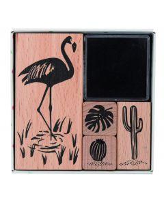 Rico Tropical Stempelset 4 stuks + stempelkussen flamingo