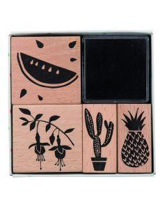 Rico Tropical Stempelset 4 stuks + stempelkussen meloen