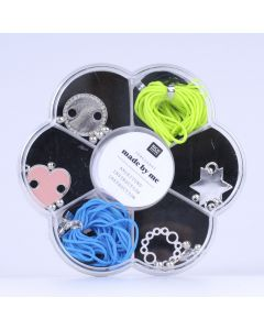 Macramé set voor armbandjes zwart, fluo groen en petrol