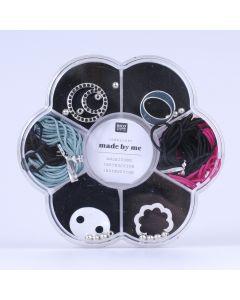 Macramé set voor armbandjes zwart, fuchsia en pastelgroen
