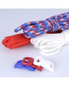 Paracord set 3 x 3 m 3 sluitingen wit, rood, blauw