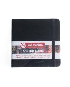 Art Creations schetsboek 12 x 12 cm zwart