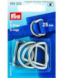 D-ringen 25 mm 4 stuks zilverkleurig