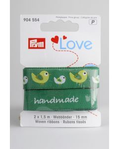 Prym Love linten 15 mm 2 x 1,5 m vogel groen