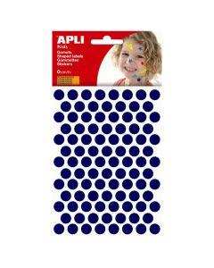 Apli stickers cirkel 10,5 mm 588 stuks blauw