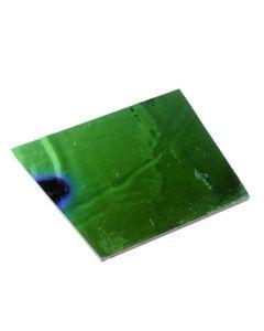 Dichroic plaatje COE 90, 8 x 11 cm groen op zwart