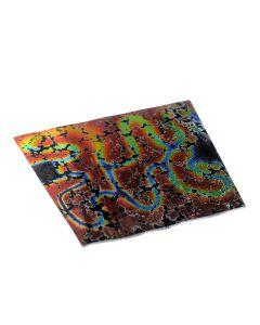 Dichroic plaatje COE 90, 8 x 11 cm print rood/zwart