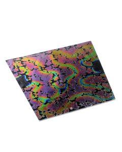 Dichroic plaatje COE 90, 8 x 11 cm print roze/zwart