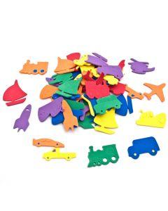 Rubber transportmiddelen 5 cm 60 stuks assortiment