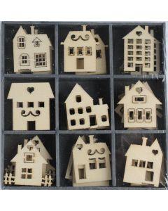 Houten ornamentjes 45 stuks huisjes