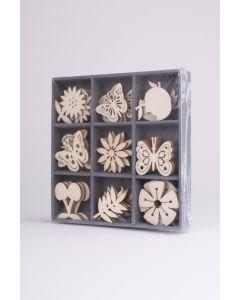 Houten ornamentjes 45 stuks fruit-vlinder-bloem