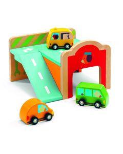 Djeco houten minigarage met 3 auto's