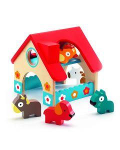 Djeco houten miniboerderij met 5 dieren