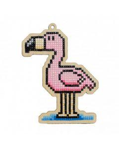 Diamond Painting op hout S flamingo