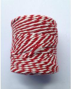 Koord fijn 3 draads 55 m rood/wit