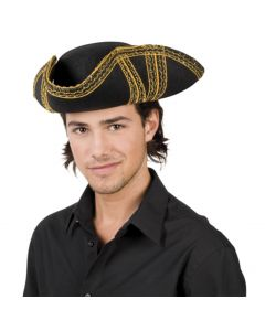 Adellijke vilten hoed driepunts zwart