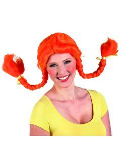 Pruik rood haar met vlechtjes Pippi Langkous