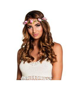Haarband bloemetjes roze