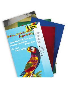 Alu hobbyfolie 18 x 30 cm 5 kleuren zlv-gd-bl-rd-gr
