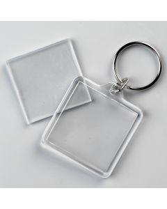 Sleutelhanger 2-delig transp. vierkant 40 x 40 mm
