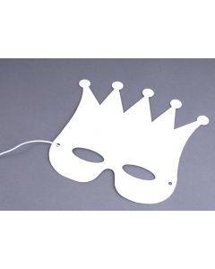 Wit karton masker met kroon 12 stuks