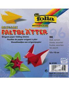 Origamiblaadjes 13 x 13 cm 96 stuks wit/gekleurd ass.