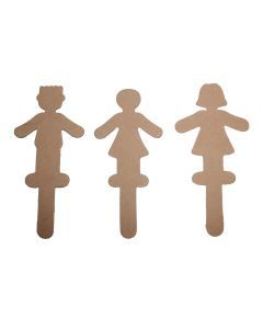 Houten figuurtje op stokje 12 stuks jongen/meisje ass.