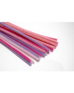 Chenille 6 mm/30 cm assortiment lila 5 x 5 kleuren