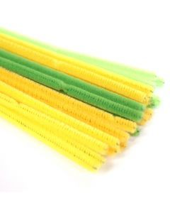 Chenille 6 mm/30 cm ass. groen 5 x 5 kleuren