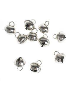 Belletjes 11 mm 10 stuks zilverkleurig