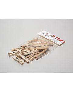 Houten wasknijpers 4,5 cm 24 stuks naturel