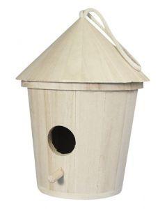 Houten vogelhuisje rond 16 cm
