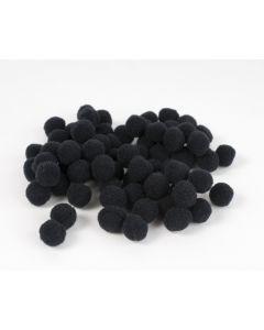 Pompon 7 mm 70 stuks zwart