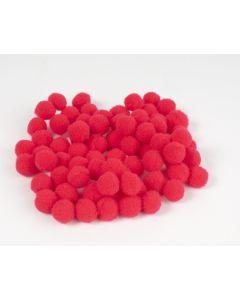 Pompon 7 mm 70 stuks rood