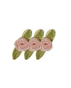 Satijnroosje op strik 10 mm 20 stuks roze