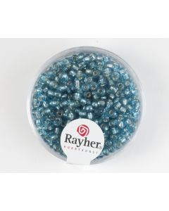 Glasparel 2,6 mm 17 g turkoois met zilverkern