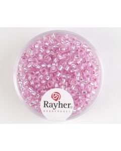 Glasparel 2,6 mm 17 g roze met zilverkern