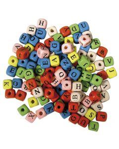 Houten kralen dobbelsteen met letters 10 x 10 mm 50 g ass.