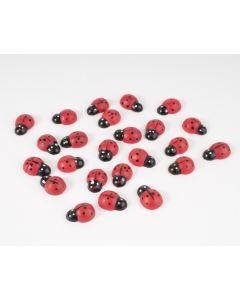 Lieveheersbeestjes 1,5 cm met lijmdot 24 stuks