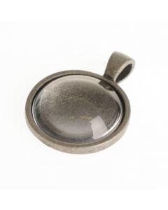 Hanger met cabochon rond 2,2 cm oud zilver