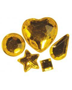 Strass acryl klevend 58 stuks geel
