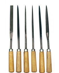 Set vijlen met houten handvat 6 stuks