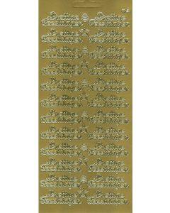 Sticker goud 16 stuks prettige feestdagen