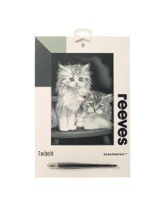 Krasfolie set 20 x 25 cm zilver Pluizige kittens