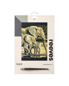 Krasfolie set 20 x 25 cm goud Olifanten