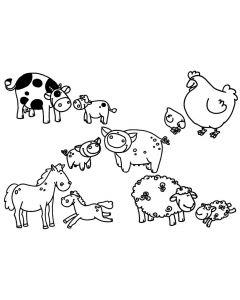 Stampominos stempels 10 stuks + inkt boerderijdieren
