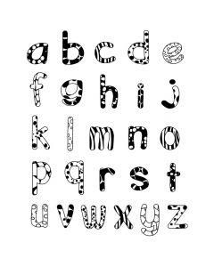Stampominos stempels 26 st. + inkt alfabet kleine letters
